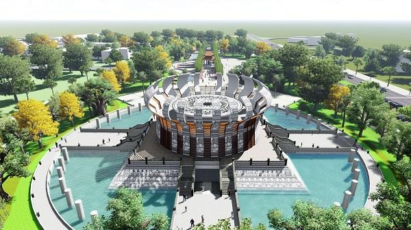 Đền thờ vua Hùng ngay cổng vào dự án