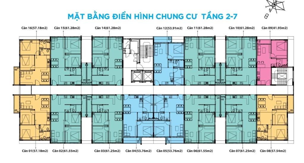 Mặt bằng chung cư An Phú Cần Thơ Tầng 2 - 7